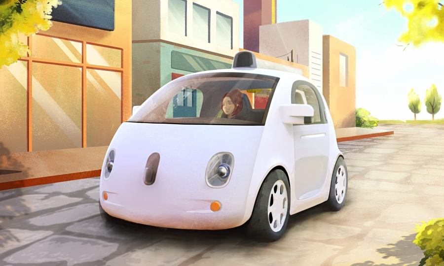 Look, no hands: an artist's sketch, released by Google last week, of the new driverless pods.